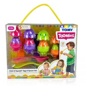 tomy hide and squeak egg and spoon set 2